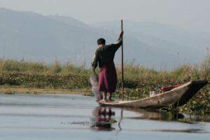 ein Fischer bei der Arbeit - Inle See