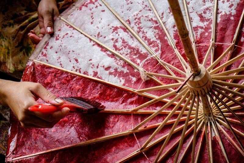 Schirmmalerei Burma Myanmar Reise